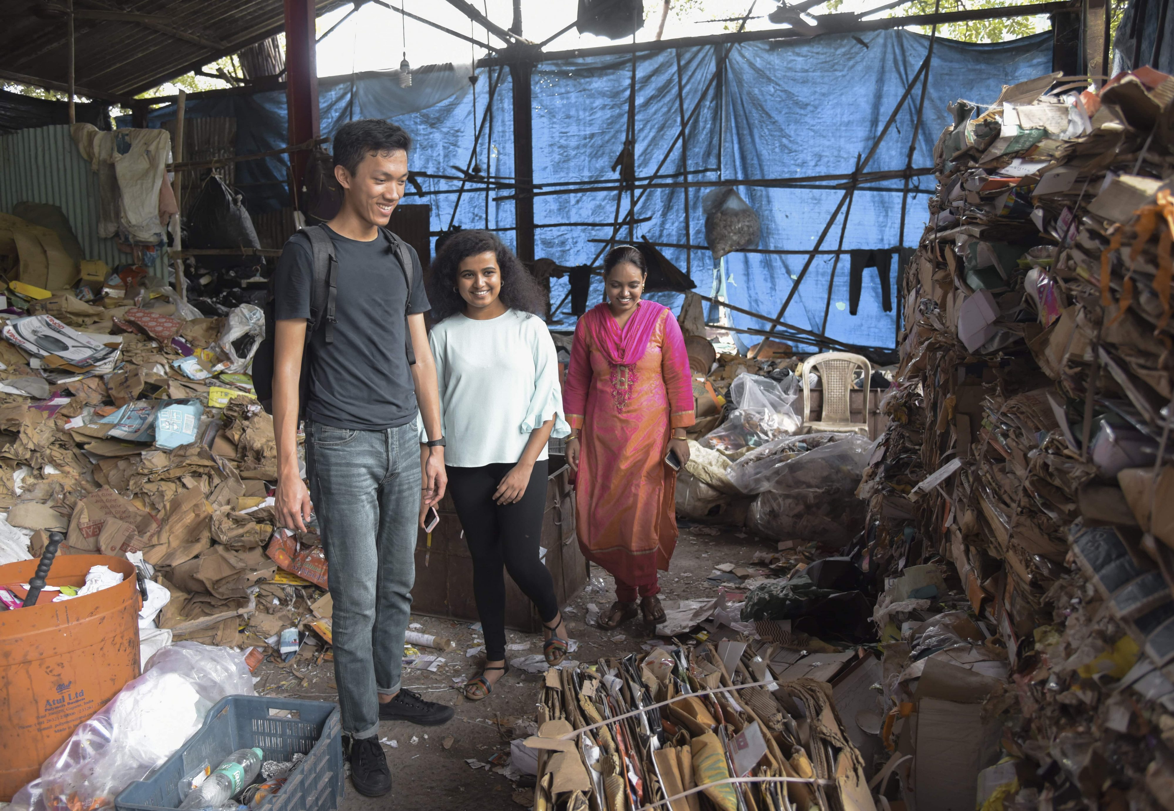 Our co-founders Peter Wang Hjemdahl and Savinka Balasubramanian in a waste recycling enterprise in India