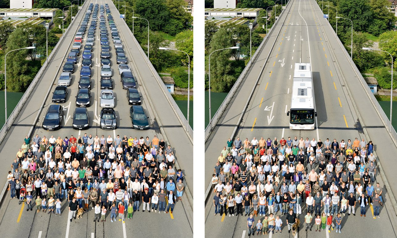 A comparison image of private and public transport showing the benefits of public transport