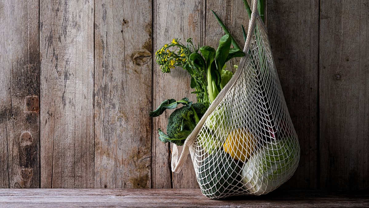 A reusable mesh cloth bag with vegetables as an alternative to plastic bags for a sustainable lifestyle