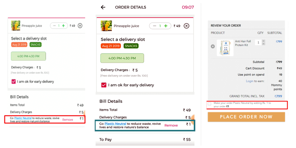 Screenshot compilation of integrating impact initiatives in your product experience for consumers