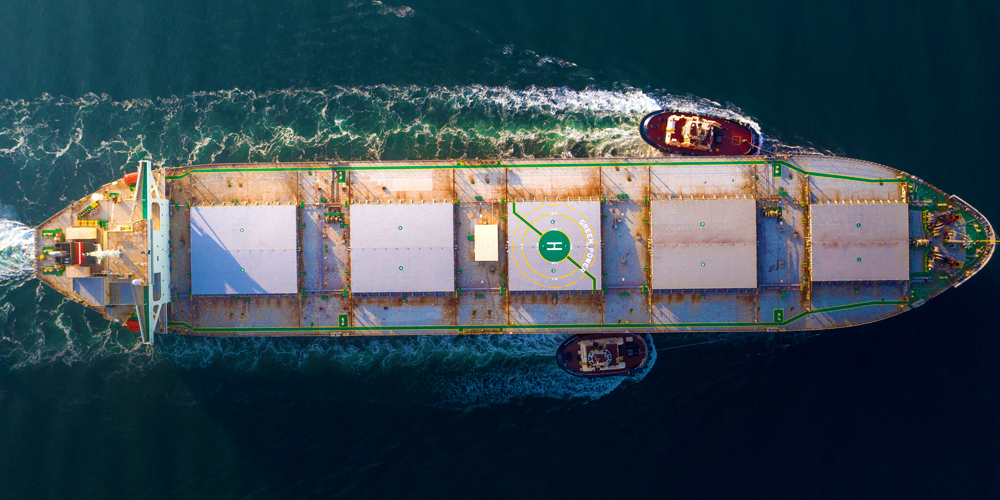 A cargo ship for bulk shipping of products