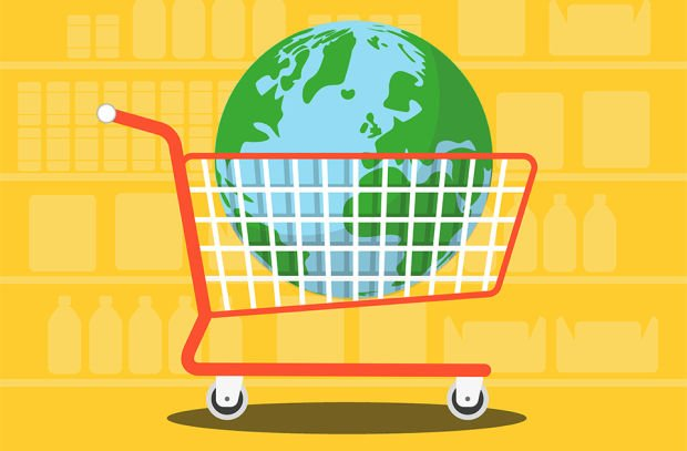 A trolley with the Earth in it, showing the power of consumers and how we can save the planet by making conscious purchases