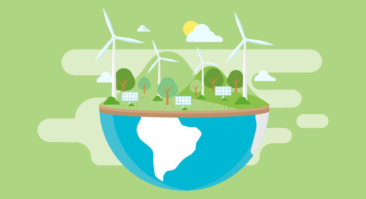 An illustration showing how the planet will benefit with green manufacturing practices