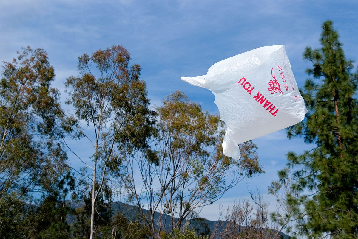 A plastic bag floating in the air, one of the ways that plastic enters our oceans