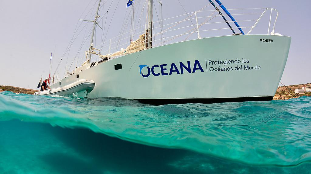 A ship with the Oceana logo, one of the non-profits fighting ocean plastics today