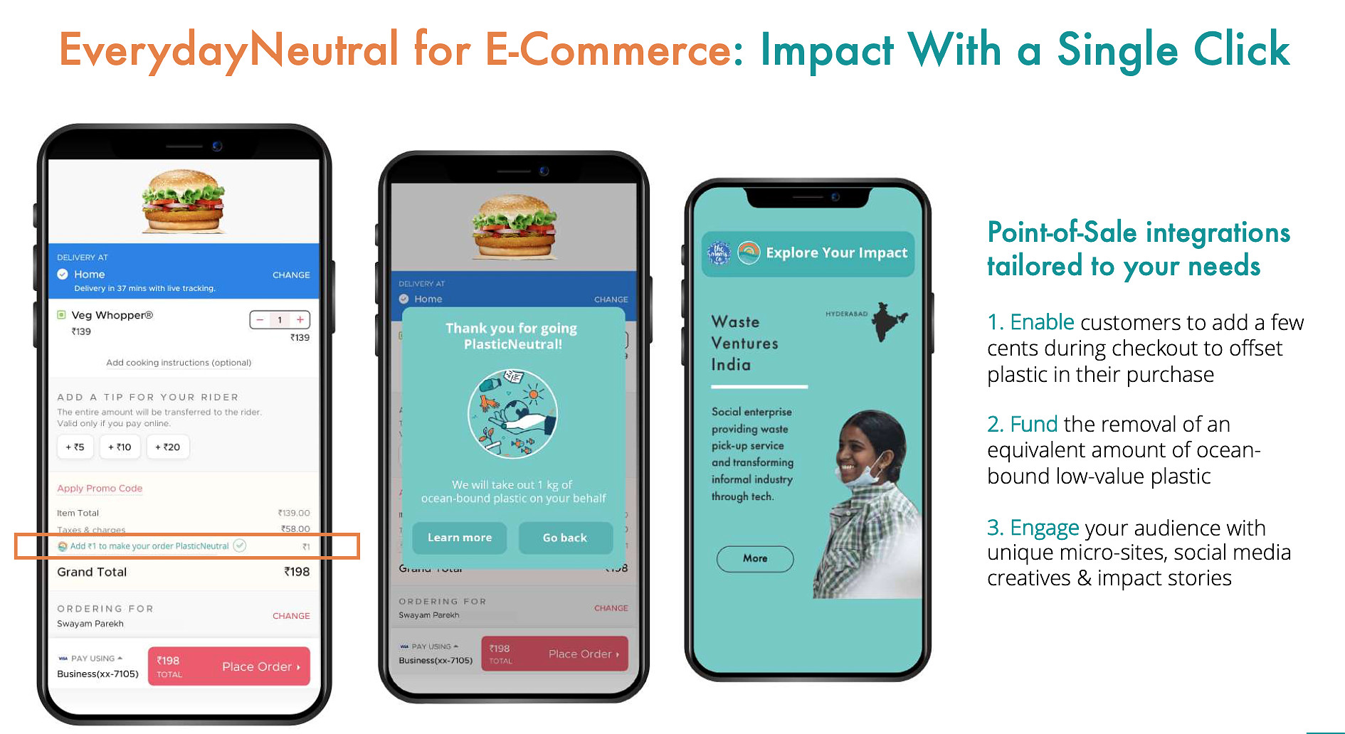 EverydayNeutral for E-Commerce, Point-of-sale integrations by rePurpose Global to make a purchase green