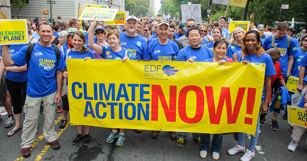 Environmental Defense Fund, an environmental non-profit at a rally for climate change action